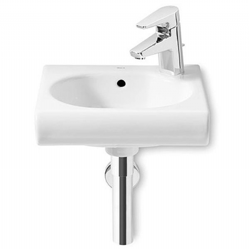 Roca Meridian-N Square Cloakroom Basin - 350mm - Right Handed - 1 Tap Hole - White